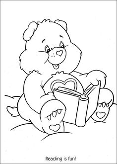 Care Bears Reading Is Fun Printable Coloring Pages - DeColoring - Coloring Home Lds Coloring Pages, Cartoon Coloring Pages, Free Printable Coloring Pages, Coloring Pages For Kids, Coloring Sheets, Coloring Books, Kids Coloring, Care Bears, Colorful Drawings