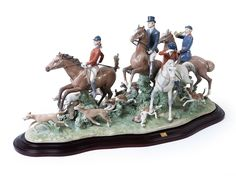 Lladro Fox Hunt available at Equestrian Boots, Equestrian Style, Fox Hunting, Royal Doulton, Gifts For Dad, Auction, Antiques, Collection, Group