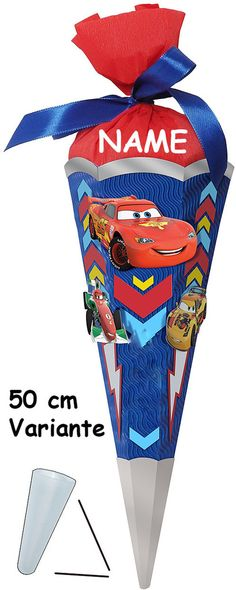 BASTELSET Schultüte Disney Cars 50 cm incl. Namen - Zuckertüte Nestler ALLE Größen - 6 eckig Queen Lightning Auto Jungen Mcqueen Autos Fahrzeuge