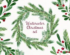 Christmas watercolor clipart - hand painted clipart - watercolor invitation - digital art download - holiday clip art - winter watercolor
