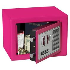 Steel Small Security Safe with Electronic Lock, Pink. Steel Small Security Safe with Electronic Lock, 3 color. The Honeywell safe has 2 solid steel live lock bolts. Security Safe, Wireless Home Security Systems, Security Gadgets, Digital Lock, Concealed Hinges, Electronic Lock, Steel Cabinet, Cubic Foot, Toys For Girls