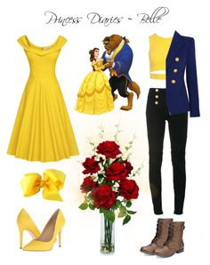"""Belle"" by caeium ❤ liked on Polyvore featuring Disney, Sans Souci, Balmain, American Rag Cie, Charles by Charles David and Nearly Natural"