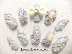 Elegant Cameo & Rose nails in Pastel Periwinkle  false/fake 3D nails on Etsy, $16.99