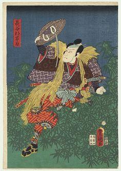 Toyokuni III/Kunisada (1786 - 1864)  Climbing through Thicket of Bamboo. £71. Kabuki design of a samurai climbing through a thicket of bamboo.