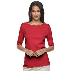 Women's Croft & Barrow® Button-Shoulder Tee, Size: Large, Med Red, Comfort Wear