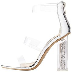 Bamboo Clear Three-Piece Glitter Heel Sandals ($36) ❤ liked on Polyvore featuring shoes, sandals, heels, silver, nude heel shoes, ankle tie sandals, cushioned sandals, nude shoes and ankle strap sandals