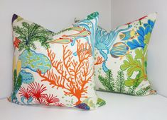 OUTDOOR Ocean Fish Coral Outdoor Pillow Cushion Covers Porch Pillow Pool Pillow 18x18