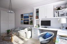 Дизайн интерьера в современном стиле, кабинет в квартире фото
