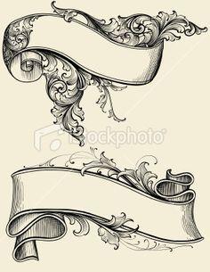 Ribbon and Scroll Royalty Free Stock Vector Art Illustration