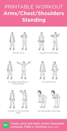 Arms/Chest/Shoulders Standing: my visual workout created at WorkoutLabs.com • Click through to customize and download as a FREE PDF! #customworkout
