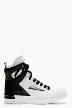 CA BY CINZIA ARAIA WHITE & BLACK SANTIAGO Cut OUt Sneakers