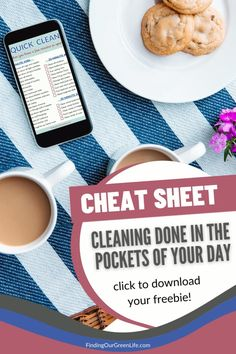 The dog needs to go out, your son just dropped his toy car in the toilet and who knows what's for dinner. Life is chaotic, you don't have hours to clean your house. Maintain a clean home in the pockets of your day with this free quick cleaning cheat sheet. House Cleaning Tips, Cleaning Hacks, Chemical Free Cleaning, Natural Cleaning Products, Cheat Sheets, Natural Remedies, Herbalism, Toilet, Toy