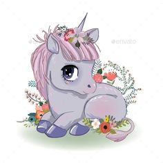 Buy Little Cartoon Fairytale Unicorn by cofeee on GraphicRiver. little cartoon fairytale unicorn with rainbow and clouds Cartoon Wallpaper, Unicornios Wallpaper, Horse Wallpaper, Unicorn Drawing, Pony Drawing, Unicorn Art, Magical Unicorn, Unicorn Images, Unicorn Pictures