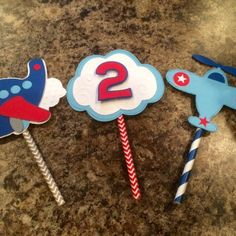 Airplane Cupcakes, Planes Cake, Airplane Car, Baby Shower, Paper Straws, Easy Diy Crafts, Etsy App, Cupcake Toppers, Birthday Candles
