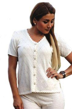 Natur weiße Damen knöpfbare Kurzarm #Bluse V Ausschnitt 100% #ökologische strukturierte Pima #Baumwolle #Biobaumwolle