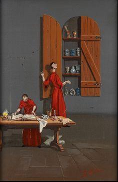 Mario D'Elia (1922-) École italienne Huile sur panneau: Les apothicaires. Signée: D'Elia, datée 1972 au dos http://www.horta.be/default.asp?sCode=DESCRIPTION-EN&sale=239&id=131115&page_nbr=19