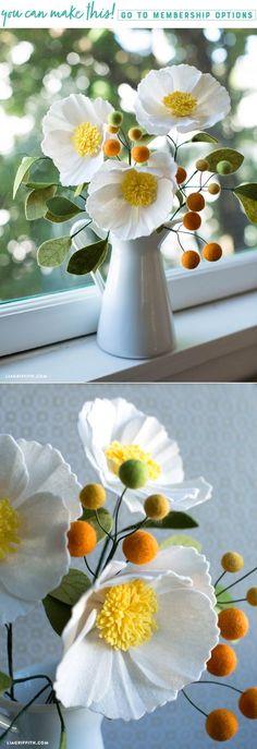 DIY Felt Moonrise Peony - www.LiaGriffith.com - #feltflower #feltpeony #feltcraft #feltflowertutorial #feltflowerpattern #feltpeonypattern #fallflowers