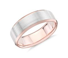 Solidify your love with this symbolic 14k white and rose gold wedding ring, showcasing a classic lathe emery finish and spun beveled edges.