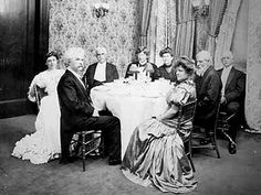 "Mark Twain's birthday dinner at Delmonico's, New York, circa 1900. Twain coiner of the phrase ""The Gilded Age"", at a Gilded Age Restaurant, Delmonico's towards the end of the Gilded Age era c.1900, for his 70th Birthday!"