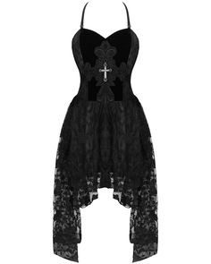 Dark In Love Gothic Cross Prom Dress Black VTG Steampunk Victorian Lace Evening Gothic Outfits, Edgy Outfits, Pretty Outfits, Cute Casual Outfits, Fashion Outfits, Black Prom Dresses, Lace Dress Black, Dress Prom, Lace Skirt