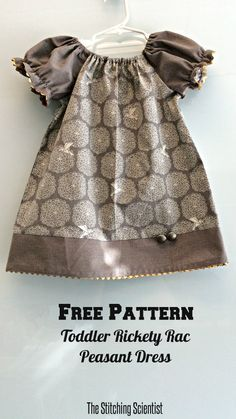 Free Toddler Elegant Rickety Rac Peasant Dress Pattern #peasantdresspattern #freesewingpattern