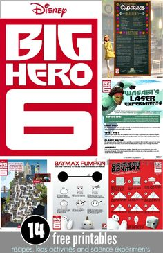 Disney Big Hero 6 free printables - activities, recipes and science experiments for the whole family