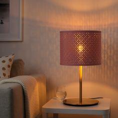 NYMÖ / SKAFTET Table lamp, dark red brass, brass - IKEA Table Lamp Base, Lamp Bases, Table Rose, Clear Light Bulbs, Plastic Tables, Diy Apartment Decor, Hanging Pendants, Led Lampe, Brass Color