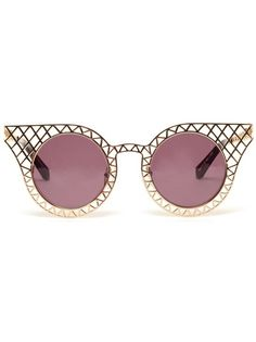 House Of Holland 'Cagefighter' Round Metal Sunglasses - Browns ($200-500) - Farfetch