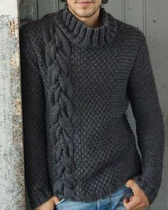 MADE TO ORDER turtleneck Sweater aran men hand knitted sweater cardigan pullover crewneck men clothing handmade men's knitting Hand Knitted Sweaters, Wool Sweaters, Handgestrickte Pullover, Crochet Men, Herren Style, Knit Fashion, Knitting Designs, Pulls, Hand Knitting