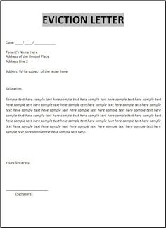 eviction letter sample  Blank Eviction Notice Form | Free Word Templates - tenant eviction ...