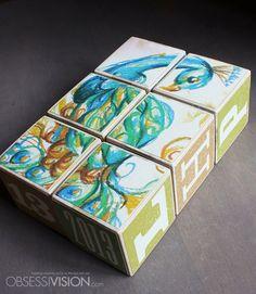 Peacock Puzzle Blocks - Set of 6 Custom Made Wood Baby Blocks - Personalized Name - Monogram - Birthday - Handmade Decor - ABC Alphabet