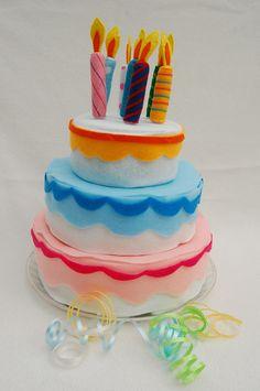 Felt pretend Birthday Cake