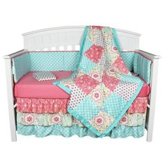 GIA Floral Coral Aqua 4 in 1 Baby Girl Crib Bedding Collection for sale online Coral Baby Bedding, Baby Girl Bedding Sets, Girl Nursery Bedding, Shabby Chic Baby, Girl Cribs, Baby Decor, Bedding Collections, Coral Blue, Amazon