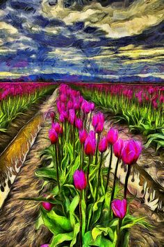 This is a digital art version of a popular photo of mine from the tulip fields in the Skagit Valley -  Image by #Markkiver - Find more images for sale at http://1-mark-kiver.pixels.com/index.html?tab=galleries or http://mkiverphotography.zenfolio.com/   . #Digitalart #Fineart #Flowers #Tulips #Washingtonstate