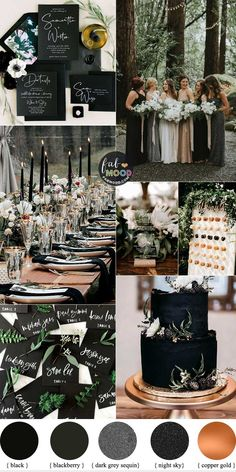 45 Ways To Dress Up Your Wedding Reception Tables 1 - Fab Mood Wedding Colours Wedding Themes Wedding colour palettes Black Wedding Themes, Wedding Color Schemes, Blue Wedding, Black Weddings, Wedding Colour Palettes, Black Wedding Cakes, Color Palettes, Winter Wedding Colors, Wedding Colours