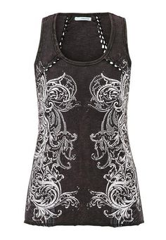 graphic tank with braid work and rhinestones #maurices