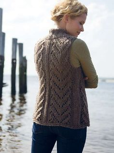 Ravelry: Montague Bulky Lace Vest pattern by Melissa LaBarre--------------something else I'd love to knit,but can't cause ,my lace is so poor :-( Crochet Vest Pattern, Sweater Knitting Patterns, Knitting Designs, Knitting Projects, Knit Crochet, Crochet Tops, Knitting Ideas, Big Knits, Lace Vest