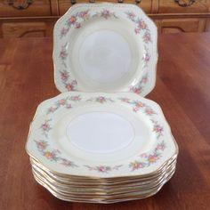"Four (4) Homer Laughlin 8"" COUNTESS Square Eggshell Georgian Salad / Dessert Plates Gold Trim - 1950's by BucketListGarnishes on Etsy"