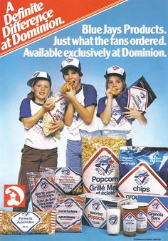 A fun Dominion grocery store ad from 1980 featuring an array of Toronto Blue Jays endorsed foods. Vintage Advertisements, Vintage Ads, Vintage Food, Retro Food, Vintage Shops, Sports Marketing, Childhood Days, Tv Ads, Go Blue