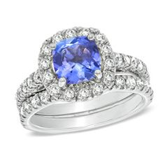 7.0mm Cushion-Cut Tanzanite and 0.98 CT. T.W. Diamond Bridal Set in 14K White Gold  - Peoples Jewellers