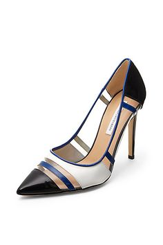 DVF Becca Too PVC Cut Out Pump in Navy