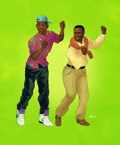 Pop Culture Buddies by Dave Collison: The Fresh Prince of Bel-Air - Will Carlton Cultura Pop, Willian Smith, Arte Do Hip Hop, 90s Pop Culture, Famous Duos, Trill Art, Arte Nerd, The Blues Brothers, Black Art Pictures