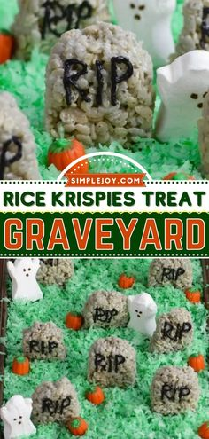 The perfect Halloween treat for a party! Decorated into a graveyard along with some candy pumpkins and marshmallow ghosts, this Halloween rice krispies treat idea is fun and tasty. Kids will enjoy it! Best Dessert Recipes, Fun Desserts, Halloween Rice Krispies, Rice Krispie Treats, Fall Diy, Halloween Treats, Fudge, Good Food, Tasty