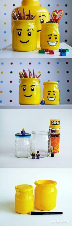 lego faces - DIY pencil cases