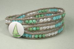 Triple wrap bracelet with peridot aqua and green fire by CarolMade, $50.00
