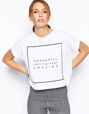 ASOS T-Shirt with Wonderful Print - I love a good slogan tee and heart the message on this boxy T-shirt crop – wear with tight trousers for an oversized-top-skinny-on-the-bottom shape.  http://asos.to/1mEBwV0