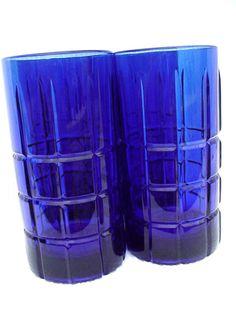 "Cobalt Blue Glass Glass 4 Solid Tumblers Water Glasses Cobalt Glass Blue Glass Stamped with an ""S"" Serveware Dinnerware"