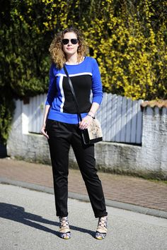 .: Mondrian + Yves Klein Blue :. #DIY #pants #Zara #sandals