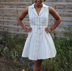 SOIshowoff July: Sew Over It Vintage Shirt Dress in white from Flo. Love it with the little belt