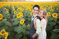 Sunflower engagement session in Kansas (photos by Nicolette Sessin)